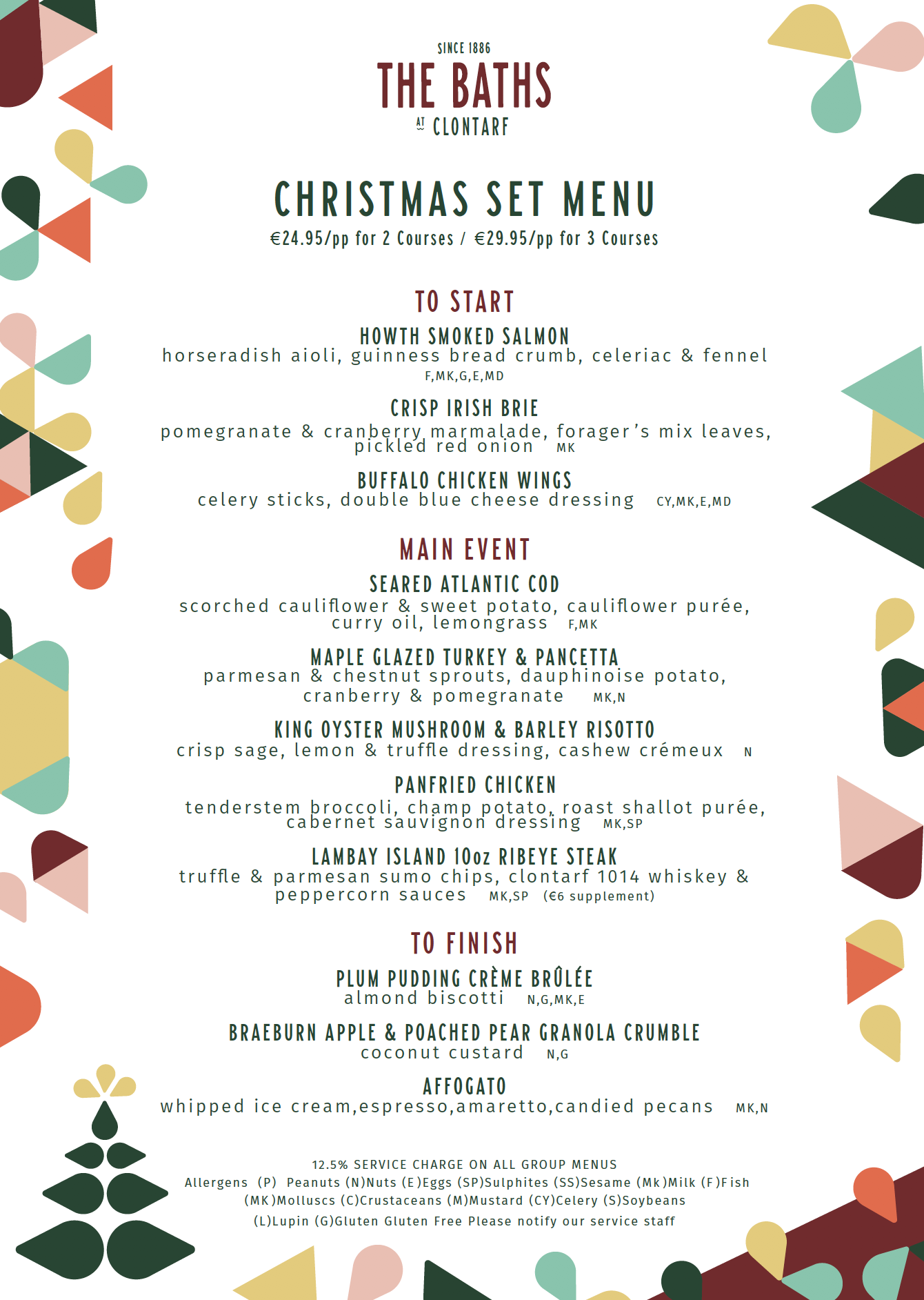 Christmas Menu.Christmas The Baths